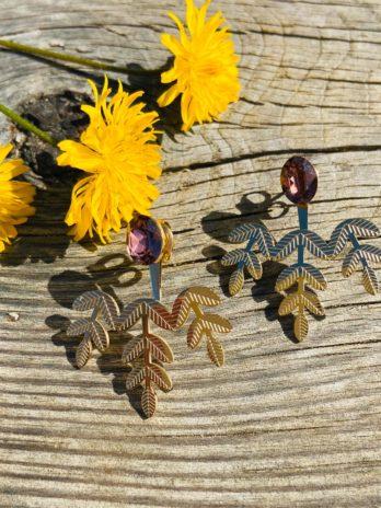Boucles d'oreilles dorée cristaux de swarovski