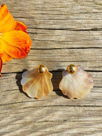 Boucles d'oreilles dorée nacre