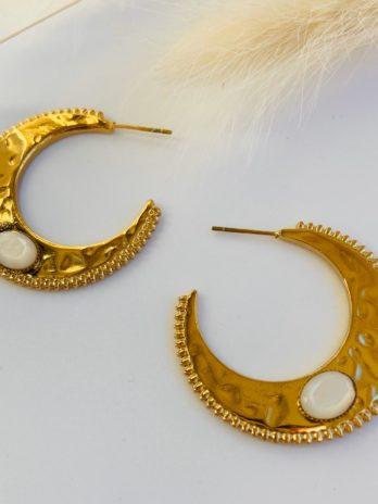 Boucles d'oreilles dorée pierre naturelle