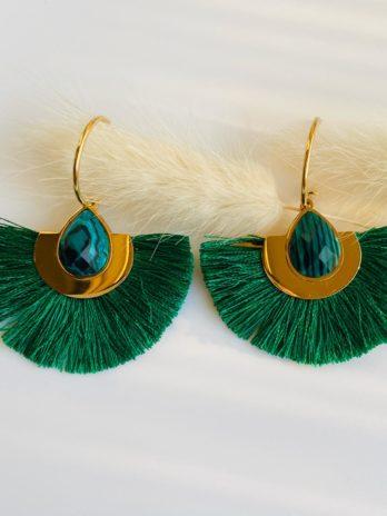 Boucles d'oreilles pompom vert