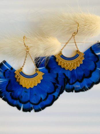Boucles d'oreilles plume bleu