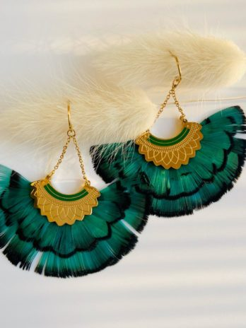 Boucles d'oreilles plume verte