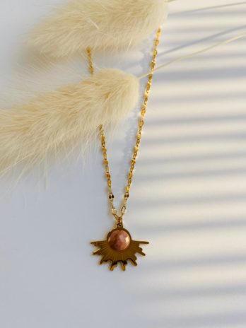 Collier pierre synthétique rose