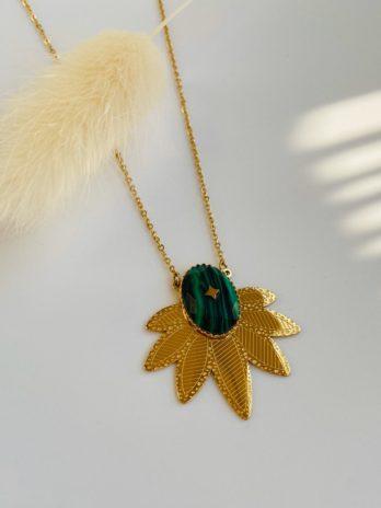 Collier pierre verte