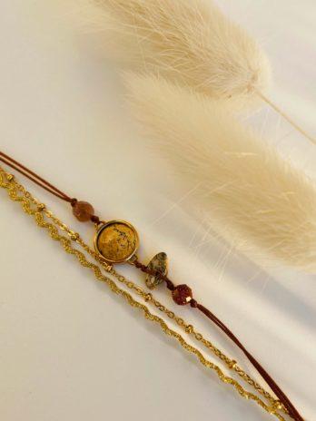 Bracelet doré pierre naturelle