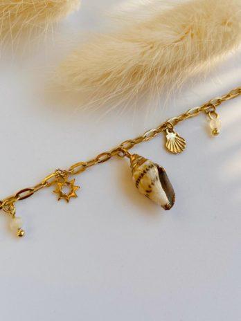 Bracelet doré coquillage pierre naturelle