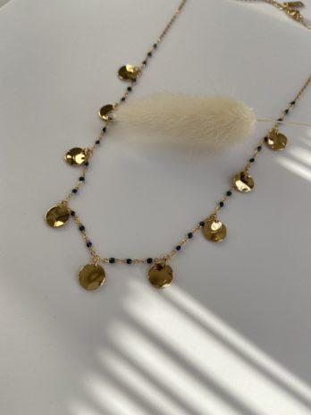 collier doré émail bleu