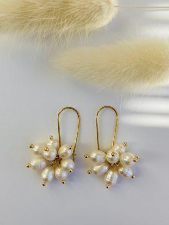boucle d'oreilles dorées en perles