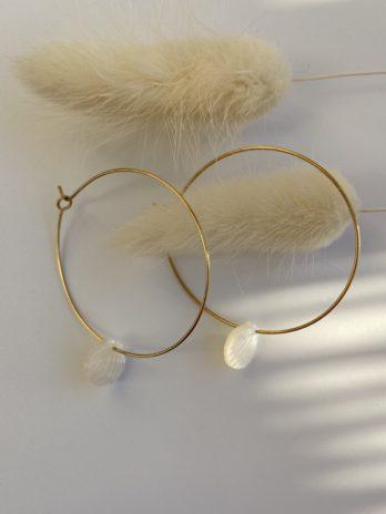 boucle d'oreilles dorées nacre