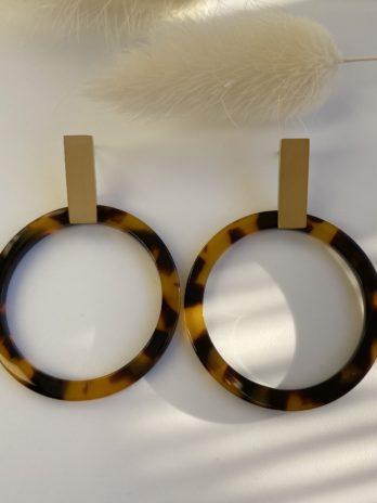 boucle d'oreilles dorées plexi camel