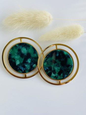 boucle d'oreilles dorées plexi vert