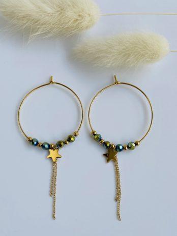 boucle d'oreilles dorées perles vertes