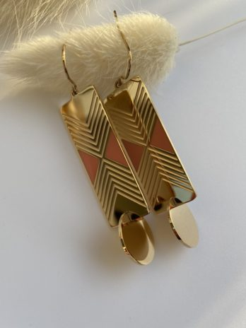boucle d'oreilles dorées email rose
