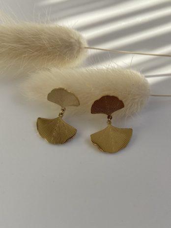 boucle d'oreilles dorées ginkgo