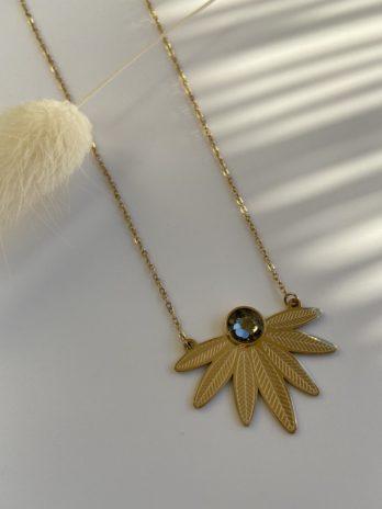 collier doré cristal de swarovski gris