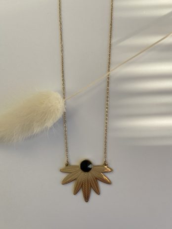 collier doré cristal de swarovski noir
