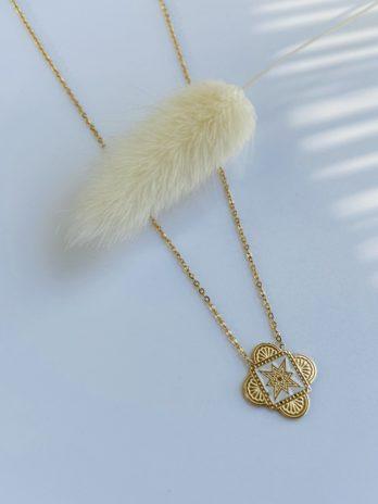 collier doré émail blanc