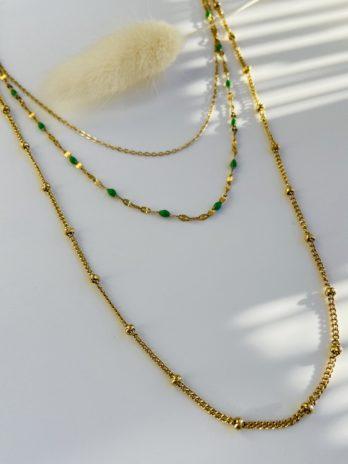 collier doré émail vert