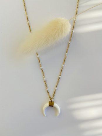 collier doré lune émail blanc