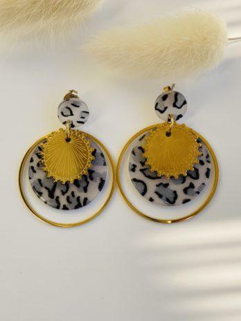 boucles d'oreilles dorées plexi leopard