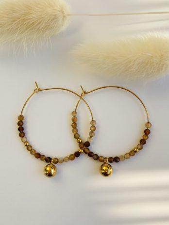 boucle d'oreilles dorées pierre naturelle