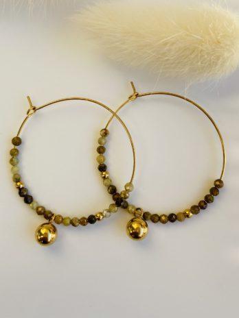 boucle d'oreilles dorées pierre naturelles