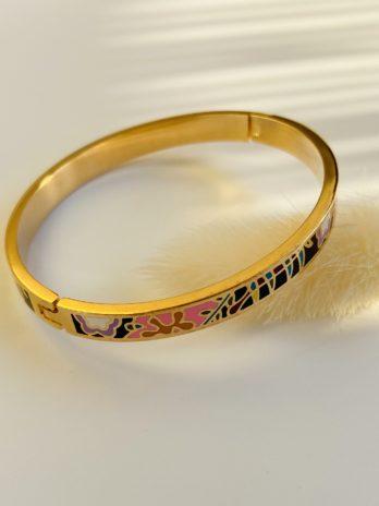 bracelet doré email de couleur