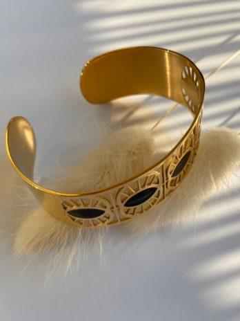 Bracelet doré email noir