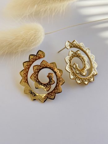 Boucle d'oreilles dorées spirales