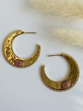 Boucle d'oreilles dorées pierre naturelle rose