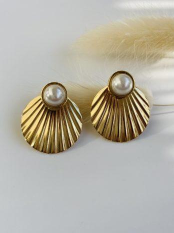 Boucle d'oreilles dorées perle