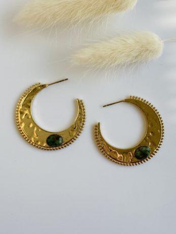 Boucle d'oreilles dorées pierre naturelle verte
