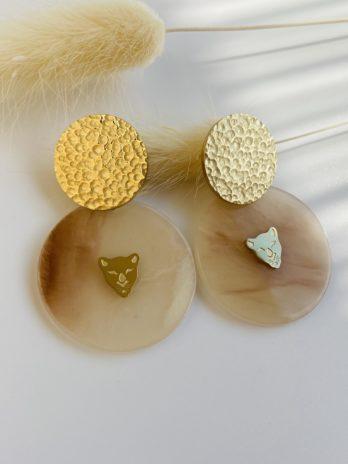 Boucle d'oreilles dorées plexi panthère