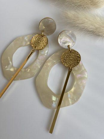 Boucle d'oreilles dorées plexi blanc irisé