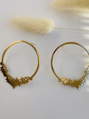 Boucle d'oreilles dorées grand rond feuille