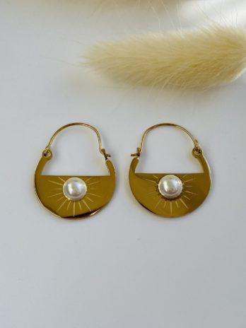 Boucle d'oreilles dorées perles