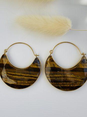 Boucle d'oreilles dorées pierre œil du tigre
