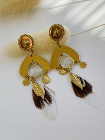 Boucle d'oreilles dorées plumes