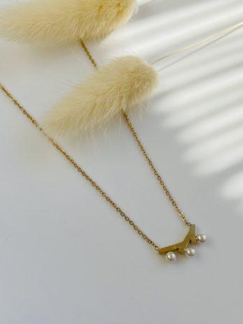 Collier doré perle d'eau douce