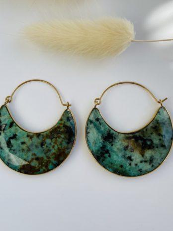 Boucle d'oreilles dorées pierre naturelle jaspe africaine