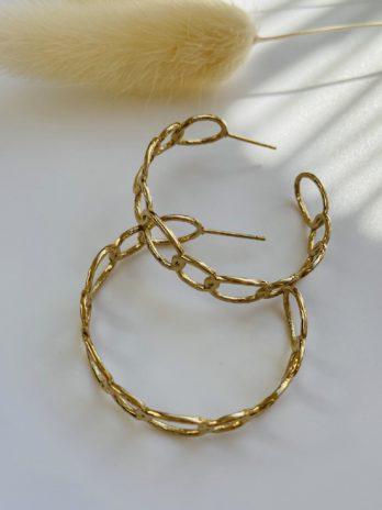 Boucle d'oreilles dorées créole chaîne