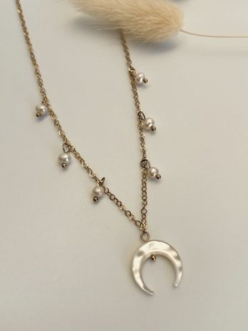 Collier lune nacre et perle d'eau douce