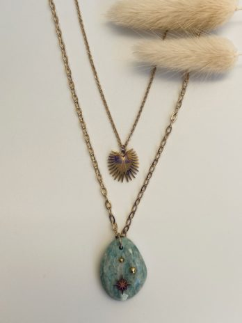 Collier double rang pierre naturelle