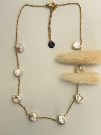 Collier doré perle naturelle