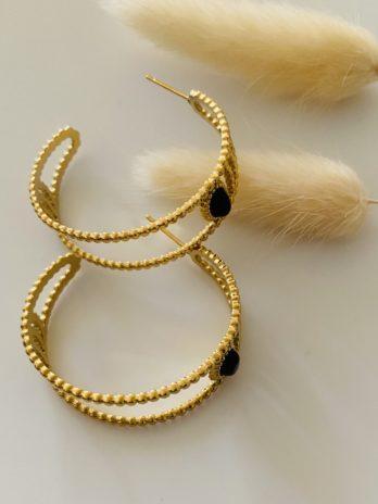 Boucle d'oreilles dorées créoles onix