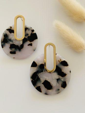Boucle d'oreilles dorées plexi noir et blanc
