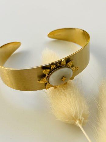 Bracelet doré soleil pierre naturelle