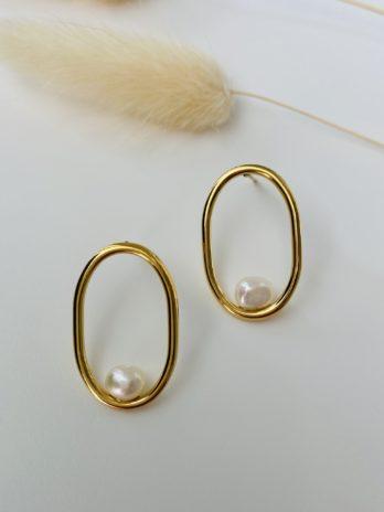 Boucles d'oreilles dorées perles naturelles