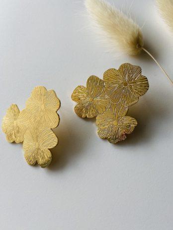 Boucle d'oreilles dorées flower