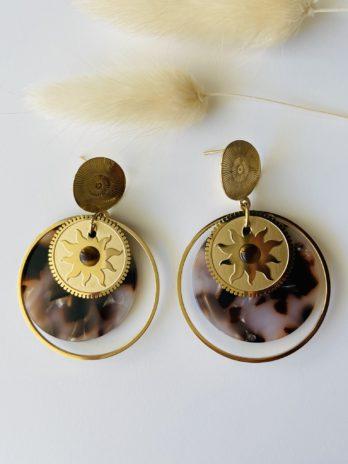 Boucles d'oreilles dorées plexi marron blanc